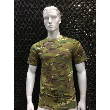 T- shirts camuflada verde com castanho claro